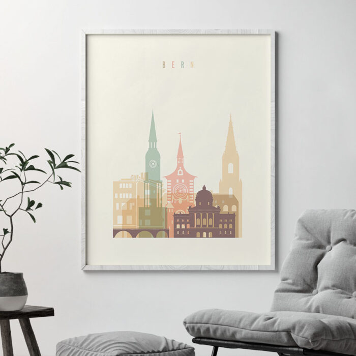 Bern art print skyline pastel cream second