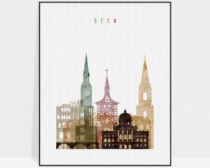 Bern skyline art print watercolor 1
