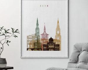 Bern skyline art print watercolor 1-second