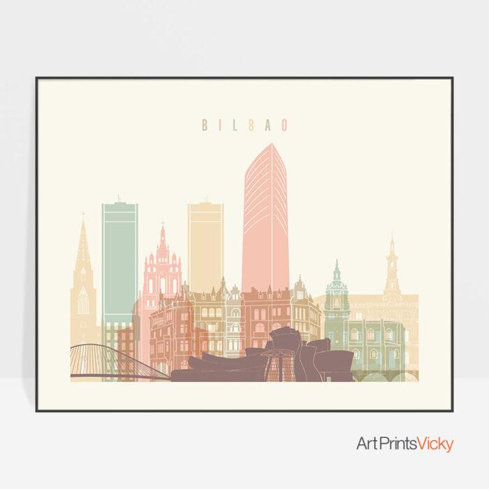 Bilbao poster skyline pastel cream landscape
