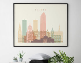 Bilbao poster skyline pastel cream landscape second