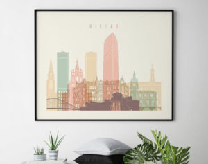 Bilbao poster skyline pastel cream landscape second