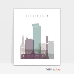 Birmingham print skyline pastel 2