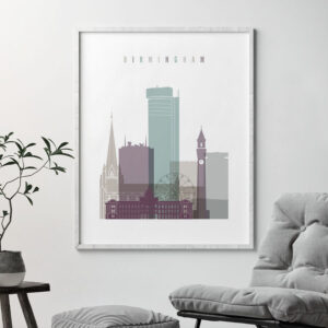 Birmingham print skyline pastel 2 second