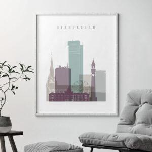 Birmingham print skyline pastel 2 second