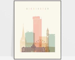 Birmingham art print skyline pastel cream