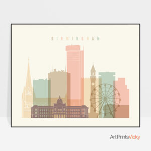 Birmingham poster skyline pastel cream landscape
