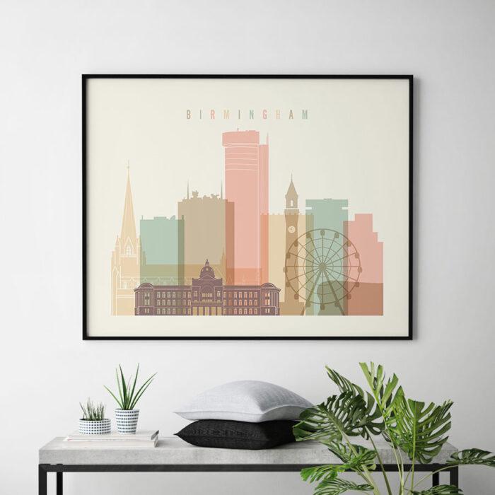 Birmingham poster skyline pastel cream landscape second
