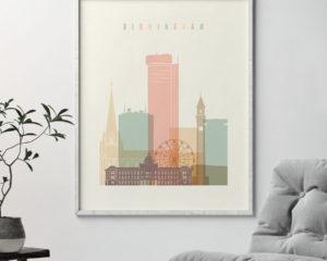 Birmingham art print skyline pastel cream second