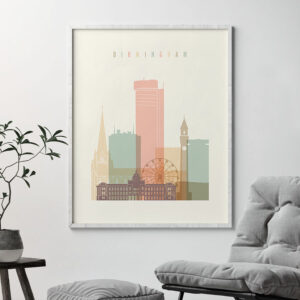 Birmingham art print skyline pastel cream second