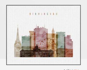 Birmingham skyline print watercolor 1 landscape