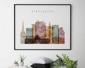 Birmingham skyline print watercolor 1 landscape second