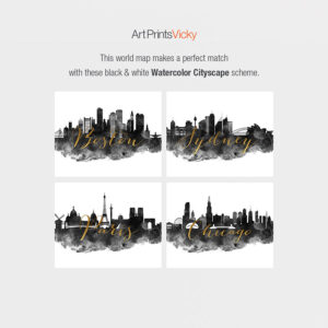 Black white watercolor cityscape map match