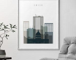Boise art print skyline earth tones 4 second