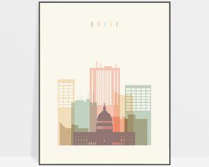 Boise art print skyline pastel cream