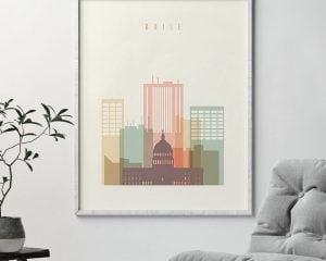 Boise art print skyline pastel cream second