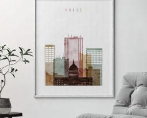 Boise skyline art print watercolor 1 second