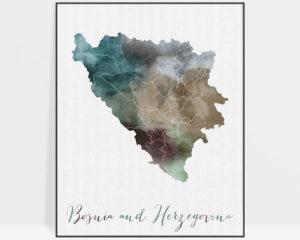 Bosnia and Herzegovina map print