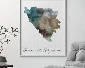 Bosnia and Herzegovina map print second