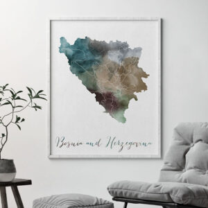 Bosnia and Herzegovina map print second