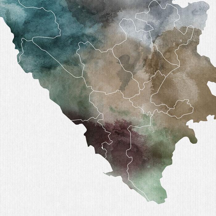 Bosnia and Herzegovina map print detail