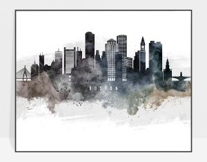 Boston art poster watercolor