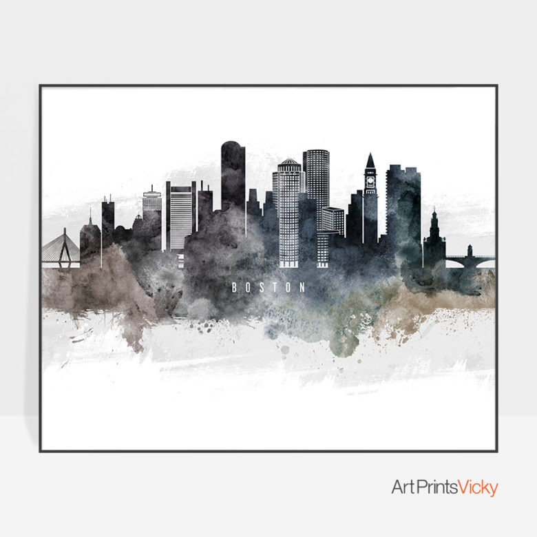 Boston art poster watercolor