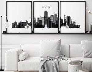Boston black and white skyline set of 3 prints second