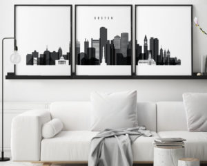 Boston black and white skyline set of 3 prints second