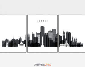 Boston black and white skyline set of 3 prints