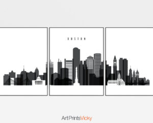 Boston black and white skyline set of 3 prints