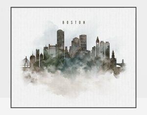 Boston cityscape print watercolor