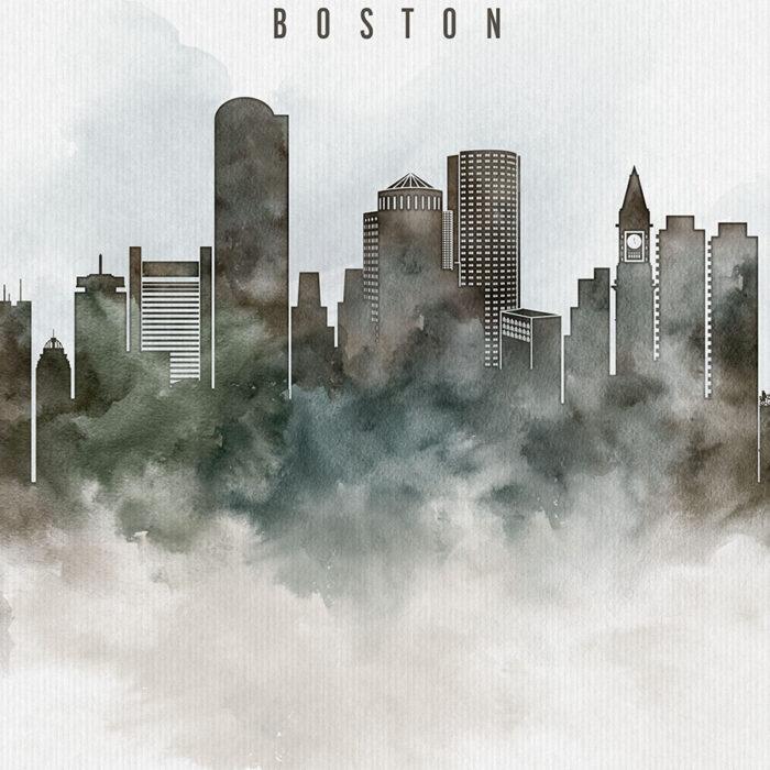 Boston cityscape print watercolor detail