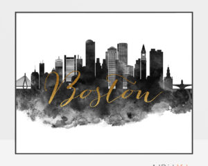 Boston cityscape watercolor poster black white gold
