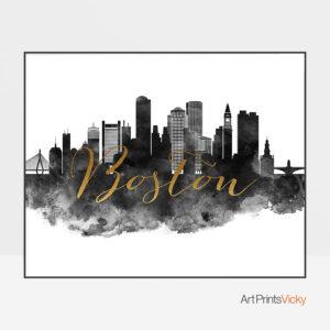 Boston cityscape watercolor poster black white gold