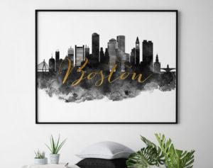 Boston cityscape watercolor poster black white gold second