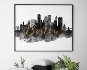 Boston cityscape watercolor poster black white gold second