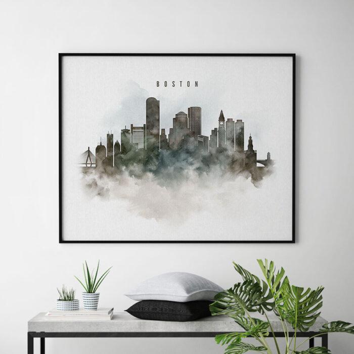 Boston cityscape print watercolor second
