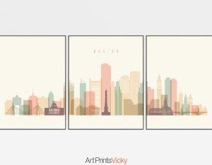 Boston pastel cream skyline set of 3 prints