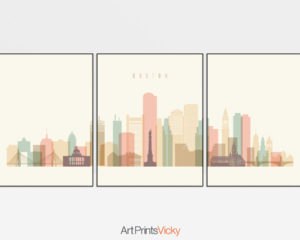 Boston pastel cream skyline set of 3 prints