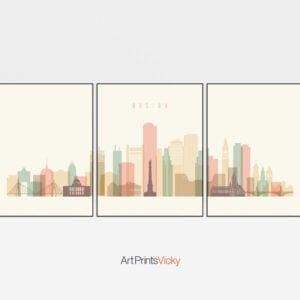 Boston Skyline 3 Prints Set Pastel Cream