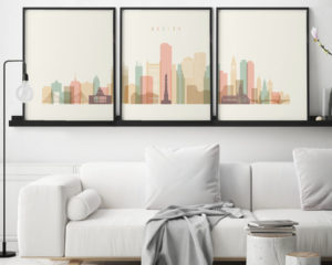 Boston pastel cream skyline set of 3 prints second