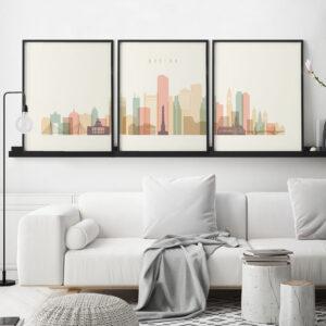 Boston pastel cream skyline set of 3 prints second