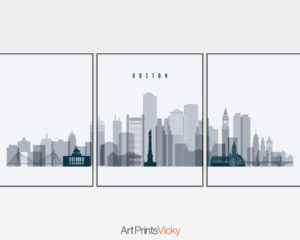 Boston grey blue skyline set of 3 prints
