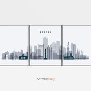 Boston grey blue skyline set of 3 prints