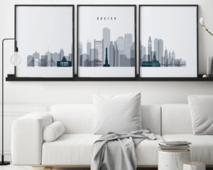 Boston grey blue skyline set of 3 prints second