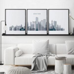 Boston grey blue skyline set of 3 prints second