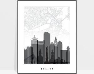 Boston map print poster black white