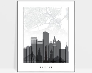 Boston map print poster black white