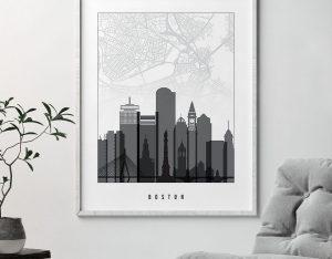 Boston map print poster black white second